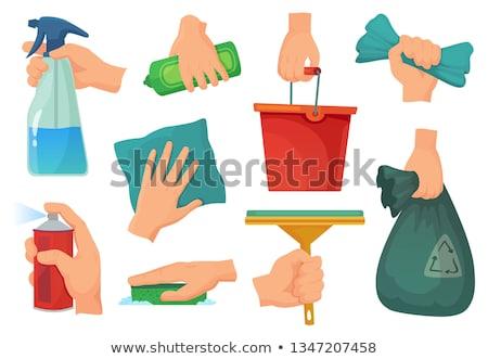 Czyszczenia wyposażenie gąbki szmata strony ludzka ręka Zdjęcia stock © simazoran