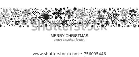 White SnowFlake Christmas Border Stock photo © PokerMan