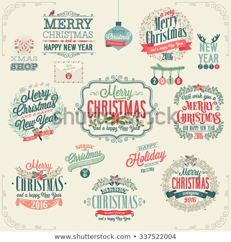 Merry Christmas and New Year 2016 lettering collection. Vector illustration set stock photo © rommeo79