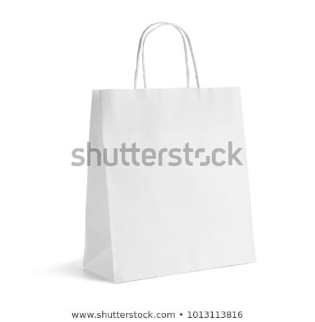Papírzacskó fehér táska bolt csomag közelkép Stock fotó © Kheat