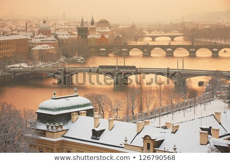 Stok fotoğraf: Kış · Prag · köprüler · nehir · Çek · Cumhuriyeti · ev