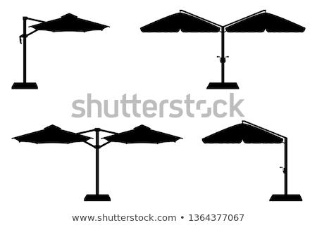 Büyük güneş şemsiye çubuklar teras plaj Stok fotoğraf © konturvid