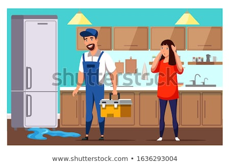 マスター 冷蔵庫 修復 ポップアート レトロな 図面 ストックフォト © rogistok