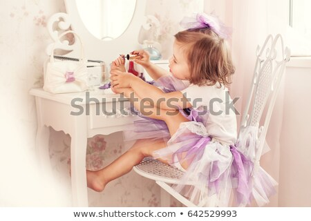 Bella bambina sedersi camera da letto felice bambino Foto d'archivio © Lopolo