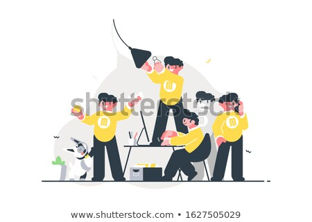 Male doing many things simultaneously Stock photo © jossdiim