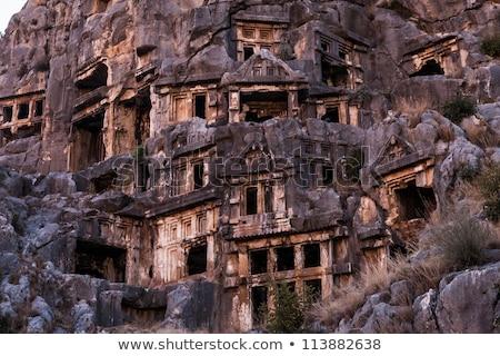Oude rock graf ruines Turkije boom Stockfoto © olira
