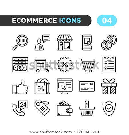 Bag And Receipt Icon Vector Outline Illustration Stock photo © pikepicture