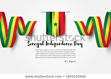 Senegal bayrak beyaz çerçeve imzalamak seyahat Stok fotoğraf © butenkow