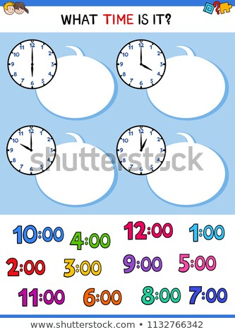 telling time educational task with cartoon children Stock photo © izakowski