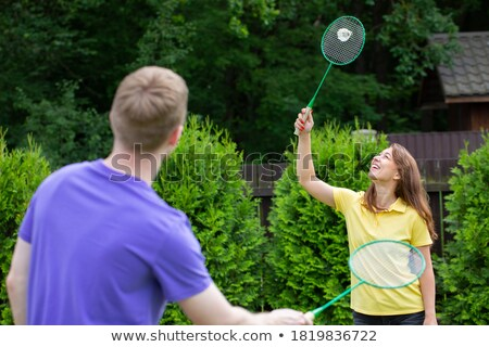 Kobieta grać badminton szczęśliwy sportu fitness Zdjęcia stock © photography33