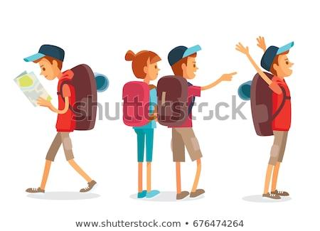 Turist kız sırt çantası dünya yaz Stok fotoğraf © balasoiu