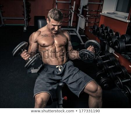 человека · гантели · сильный · черный · спорт - Сток-фото © chesterf