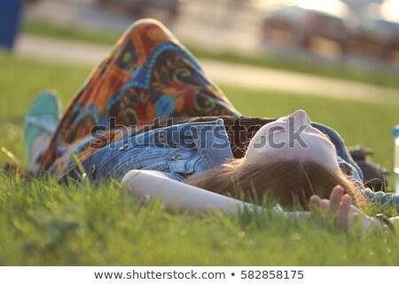 少女 リラックス フィールド 美しい 空 春 ストックフォト © taden