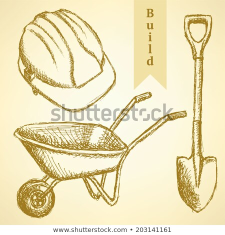 Sketch helmet, barrow and shovel,  vector  background Stock photo © kali
