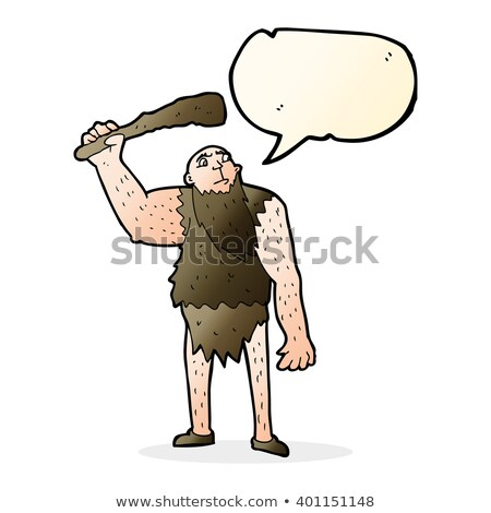 cartoon neanderthal with speech bubble Stock photo © lineartestpilot
