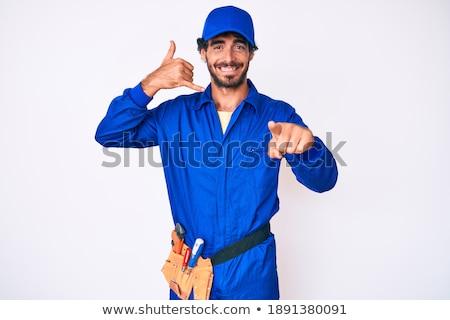 Foto stock: Retrato · sorridente · handyman · indicação · homem · feliz