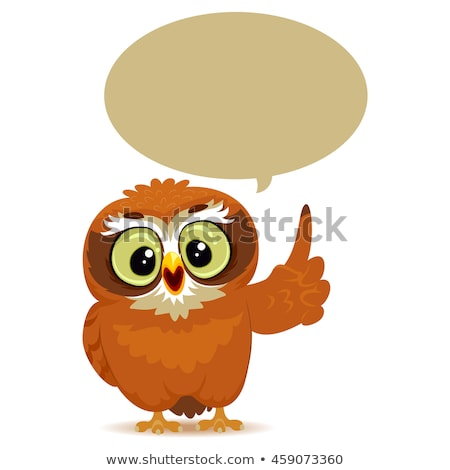 cartoon owl with blank thought or speech bubble stock photo © adrian_n