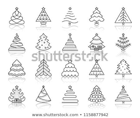 Noel ağacı ikon büyü neşeli poster kırmızı Stok fotoğraf © Voysla