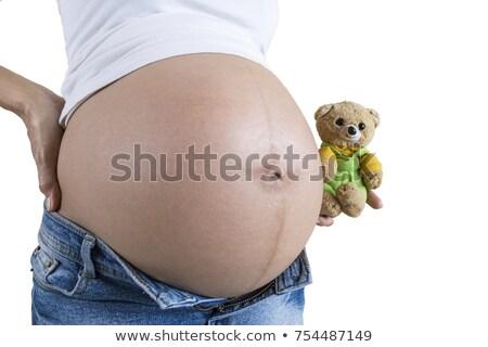 Terhes test izolált gyönyörű terhes nő fehér Stock fotó © ssuaphoto