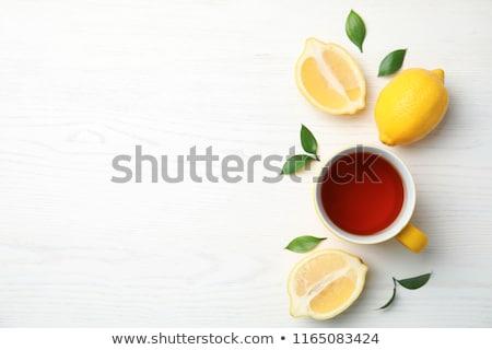 Fekete tea citrom forró üveg bögre Stock fotó © Digifoodstock