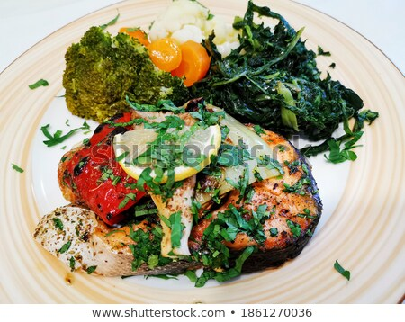 Baked Salmon With Side Of Eggplant And Peppers ストックフォト © ilolab