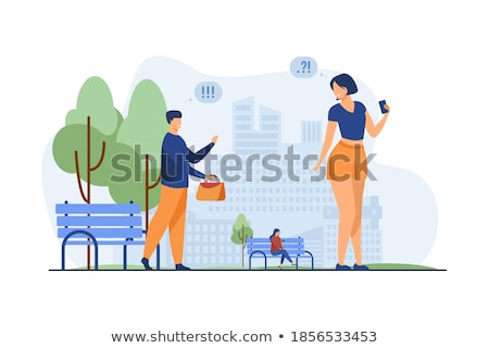 Couple in city park with acquaintance Stock photo © IS2
