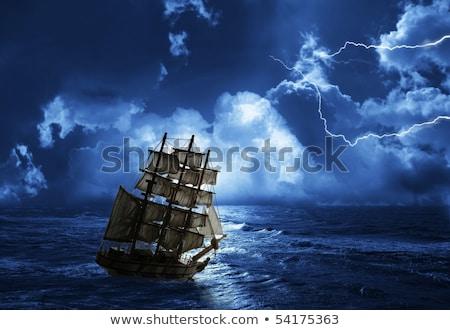Zeilschip bol Blauw zon glas boot Stockfoto © milsiart