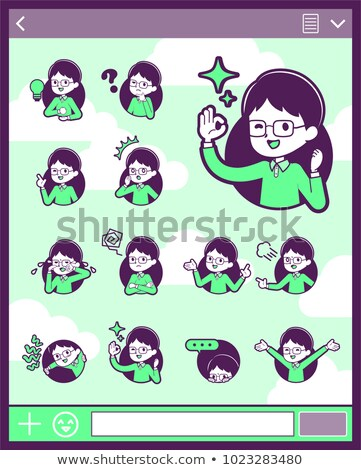 2tone type Green clothing glasses boy_set 15 Stock photo © toyotoyo