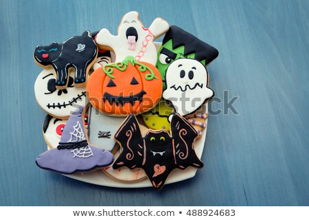 grappig · halloween · voedsel · rustiek · tabel · shot - stockfoto © nito