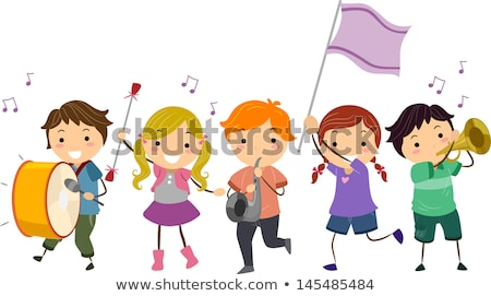 Stickman Kids Girls Majorette Illustration Stock photo © lenm