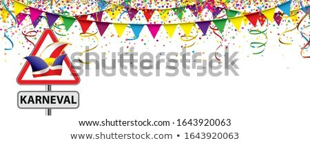 Karneval Banner Colored Balloons Confetti Jester Cap Stock photo © limbi007