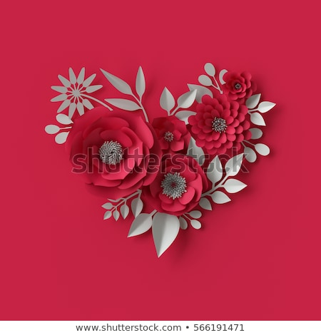 Red hearts and white paper flowers Stock photo © Artspace