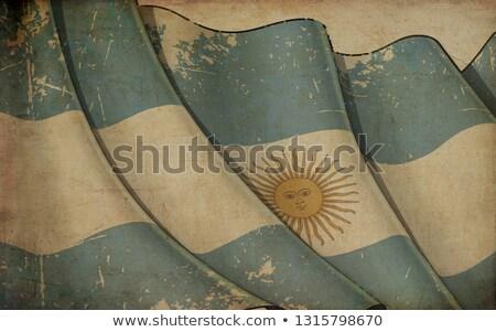 Old Paper Print - Waving Flag of Argentinian Stock photo © nazlisart