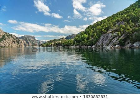 Panorama Norveç kaya çift bayrak Stok fotoğraf © Kotenko