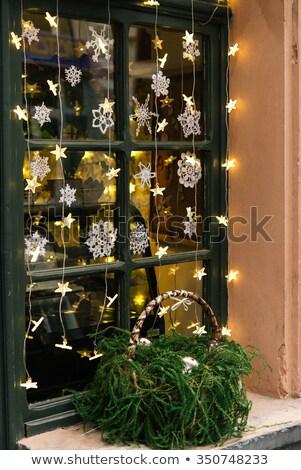 Сток-фото: Рождества · гирлянда · окна · праздников · украшение