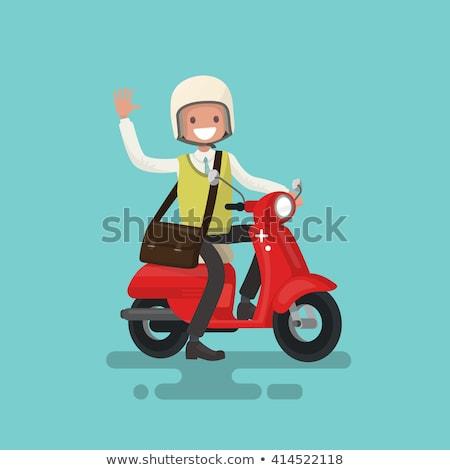 男 ライディング 自転車 文字 オートバイ ストックフォト © robuart