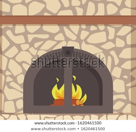 Modern Stacked Stone Fireplace, Traditional Decor Stock photo © robuart