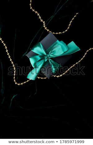 One luxury black gift boxe with green ribbon Stock photo © Illia
