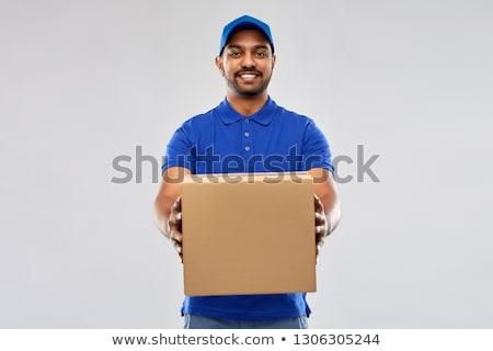 Feliz indio mensajero paquete cajas mail Foto stock © dolgachov