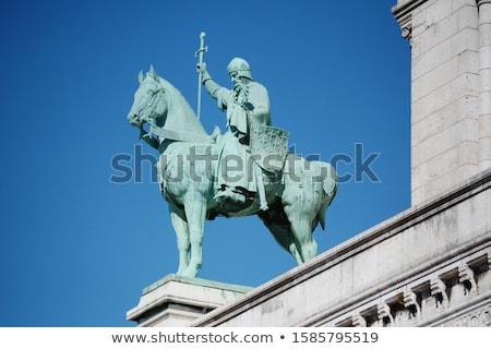 Bronze statue of King Saint Louis IX on exterior of the Sacre Co Stock photo © sarahdoow