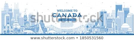 Skicc Vancouver sziluett kék épületek copy space Stock fotó © ShustrikS