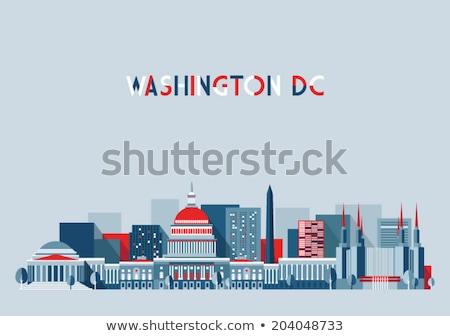 Skicc Washington DC sziluett kék épületek üzleti út Stock fotó © ShustrikS