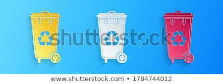 Blue plastic recycle bin 3D Stock photo © djmilic