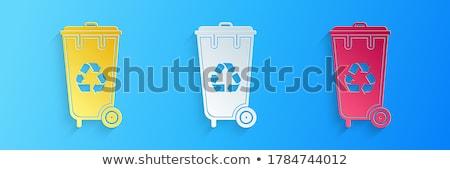 Blue plastic recycle bin 3D Stock photo © djmilic