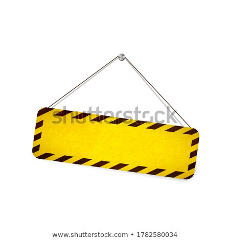 Bright grunge warning sign hanging on the rope on white Stock photo © evgeny89