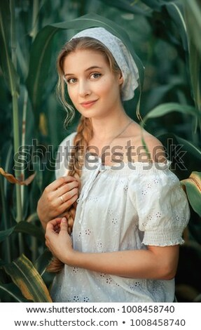blonde girl in kerchief Stock photo © zastavkin