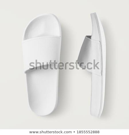 Paar witte slippers huis ontwerp achtergrond Stockfoto © homydesign