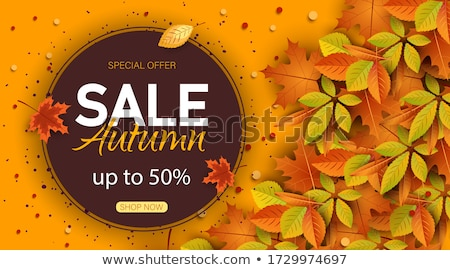 best autumn offer label with leaf stock photo © marinini