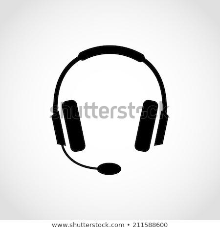 Absztrakt fényes fejhallgató ikon mikrofon fejhallgató Stock fotó © rioillustrator