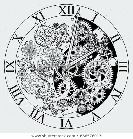 Mechanisch klok oude groene tijd Stockfoto © taden